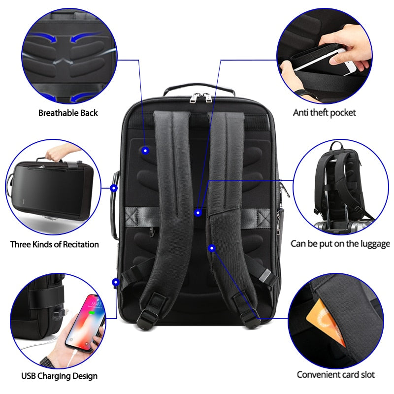 Backpack Men Travel Friendly Laptop Backpack Water Resistant Anti-Theft Laptop Rucksack with USB Charging Business Laptop Backpack for Men College Backpack Travel , Black