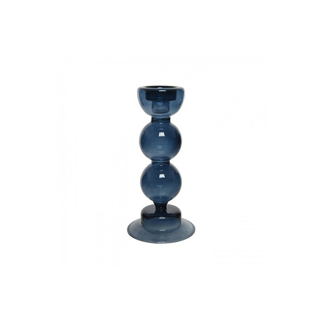 Bubble blue candle holder small