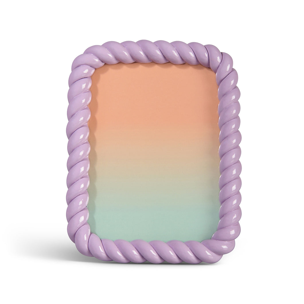 Photo frame braid rectangle lilac