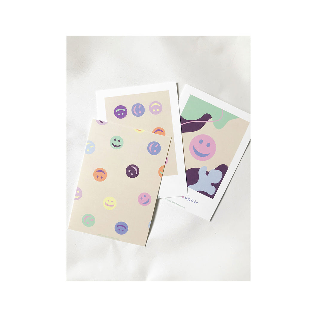Set of 3 smiley postcards