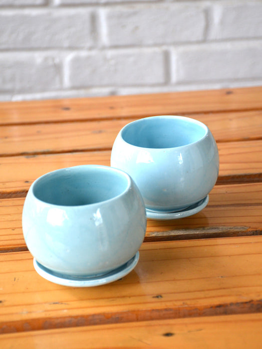 4 inch wide Pastel Blue Ceramic Pot (Set of 2)
