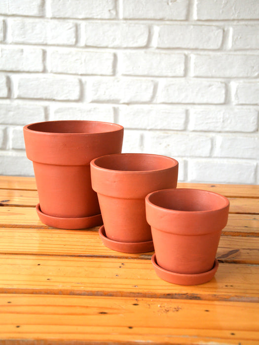 Banded Terracotta Pots