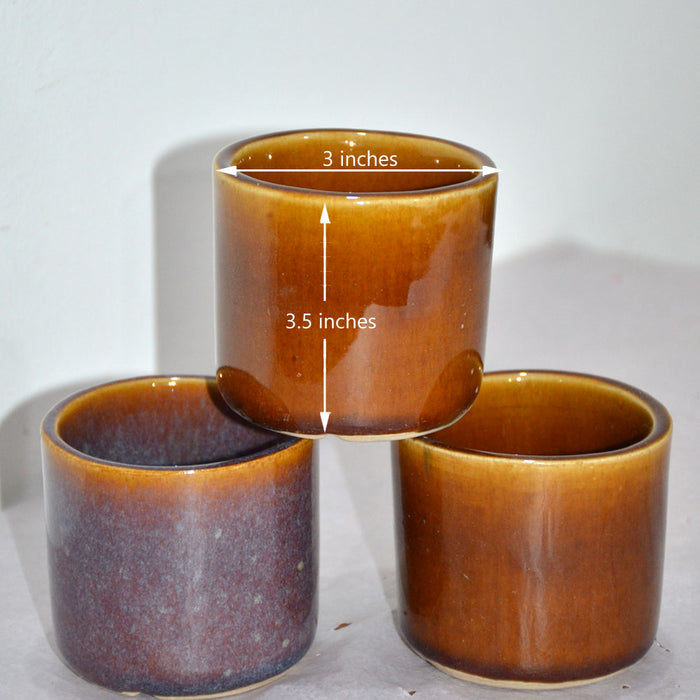 Glazed Ceramic Pots (Set of 3)