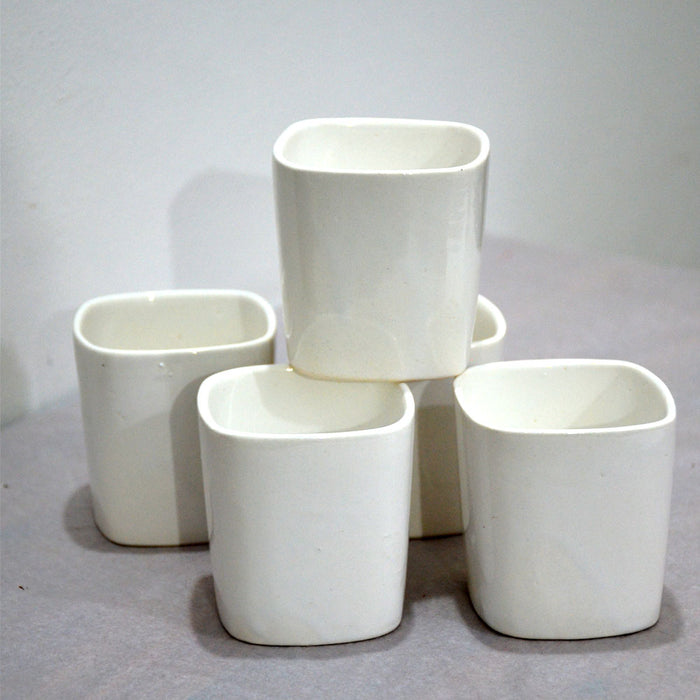 Square White Ceramic Pots (Set of 5)