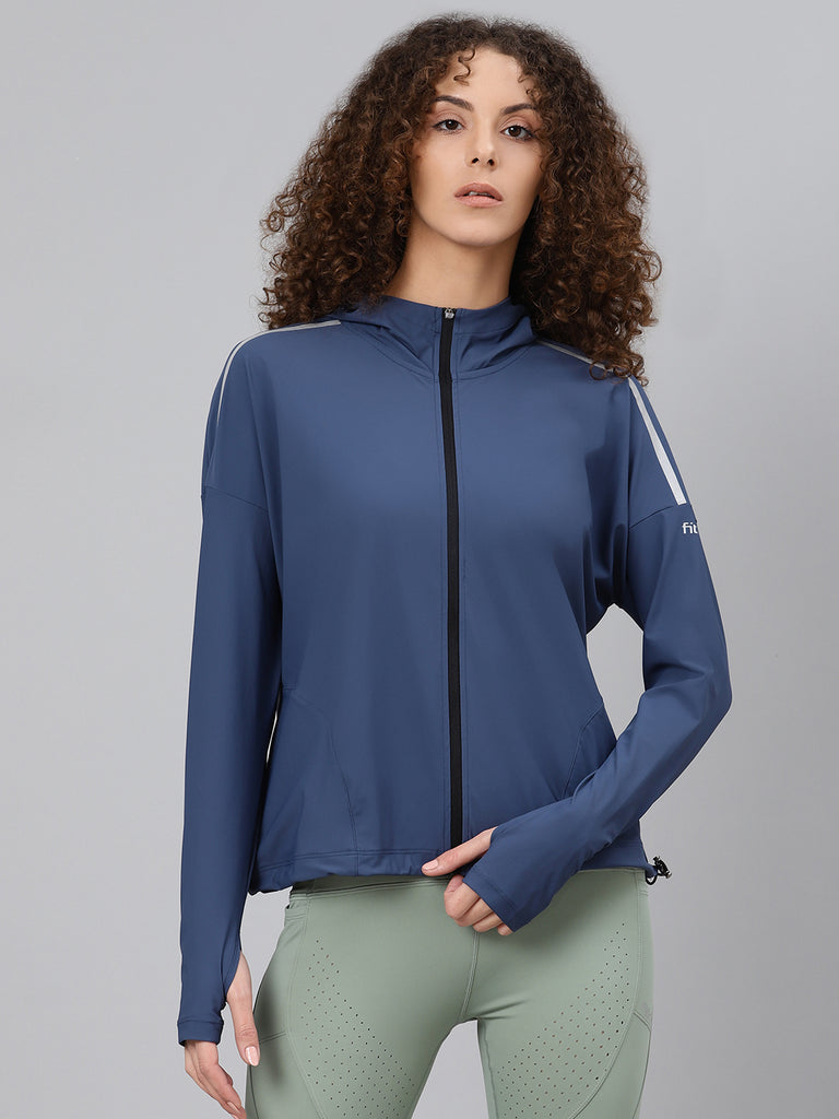 Fitkin Women Navy Blue Solid Hooded Light-Weight Front-Open Sweatshirt