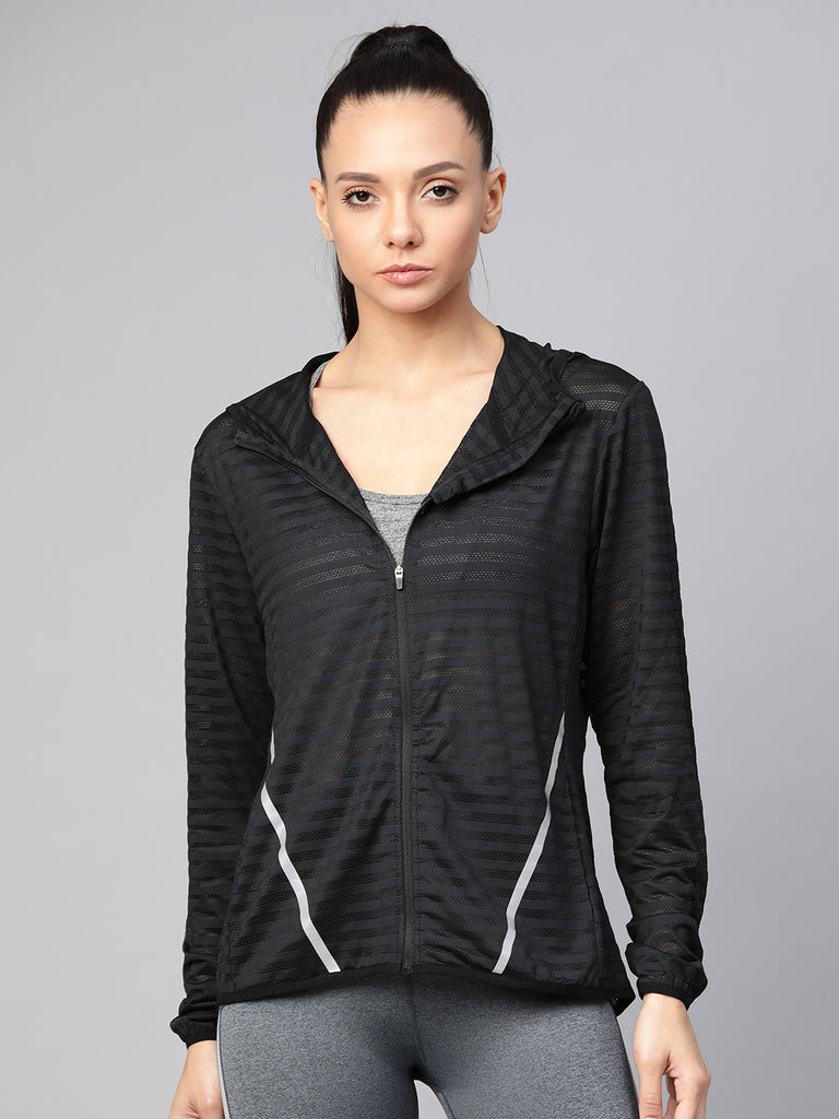 Fitkin Women Black Striped Reflective Strip Hooded All-Weather Sporty Jacket