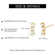 Load image into Gallery viewer, White Opal Earrings 14K Gold Plated