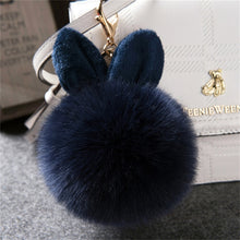Load image into Gallery viewer, Faux Rabbit Ear Pom Pom Bag Charm