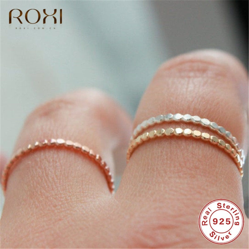 Dainty Flat Beaded Stacking Ring