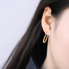 Load image into Gallery viewer, Flat Oval Earrings - 18k Gold Plated