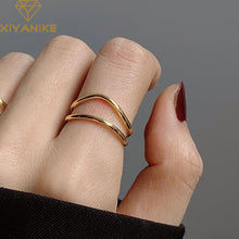 Load image into Gallery viewer, Double Curved Line Gold Plated Ring