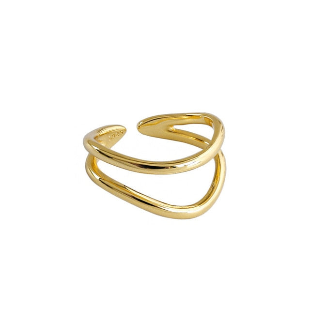 Double Curved Line Gold Plated Ring