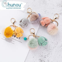 Load image into Gallery viewer, Bunny Pom Pom Bag Charm