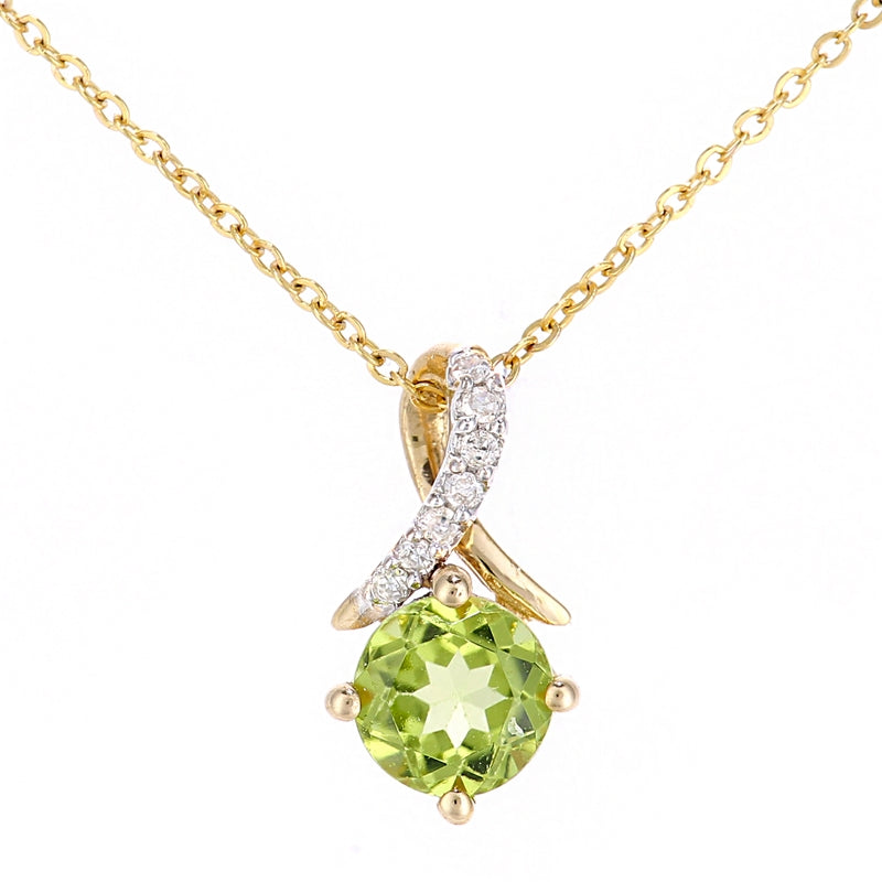 0.55ct Round Peridot And Diamond Pave Pendant In UK Hallmarked 9ct Yellow Gold