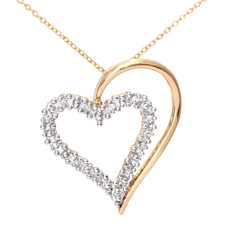 Heart Shape Diamond Pendant In UK Hallmarked 9ct Yellow Gold