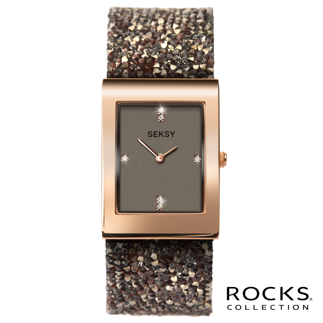 Seksy Rocks® Rose Gold Plated Bracelet Watch