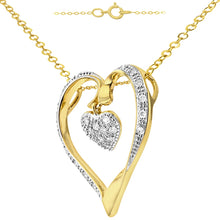 Load image into Gallery viewer, Heart Shape Diamond Pave Pendant In UK Hallmarked 9ct Yellow Gold