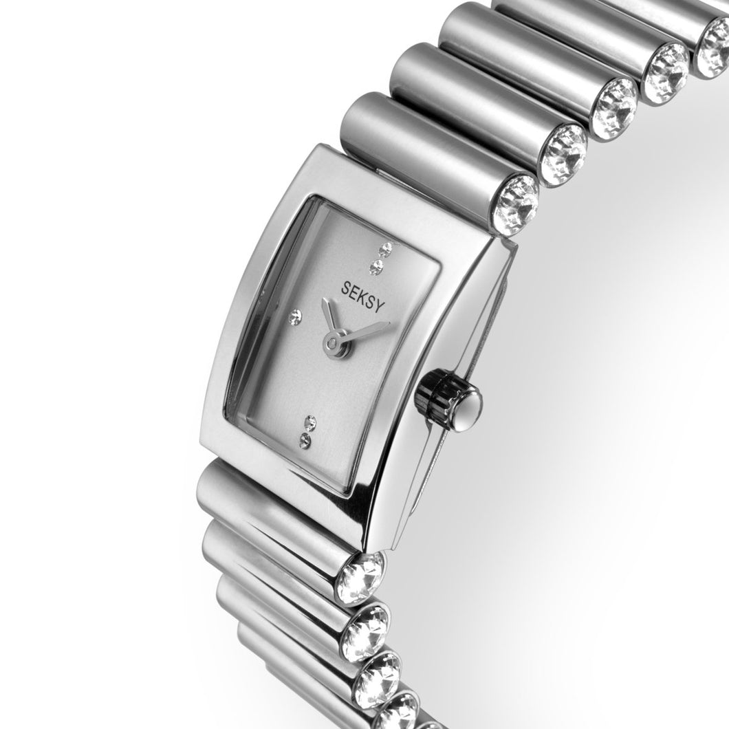 Seksy Edge® Silver Coloured Stone Set Bracelet Watch