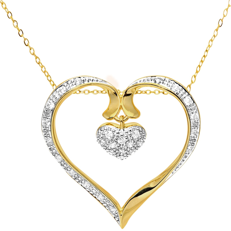 Heart Shape Diamond Pave Pendant In UK Hallmarked 9ct Yellow Gold