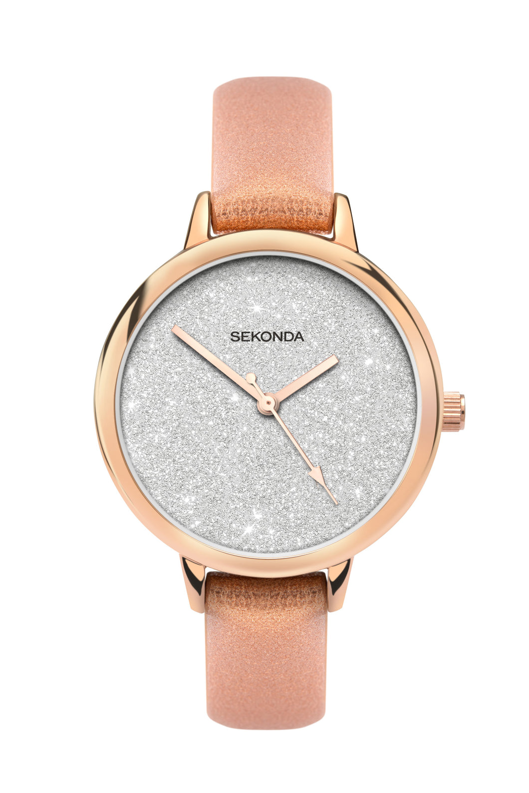 Sekonda Editions Women's Glitter Dial Rose Gold Strap Watch