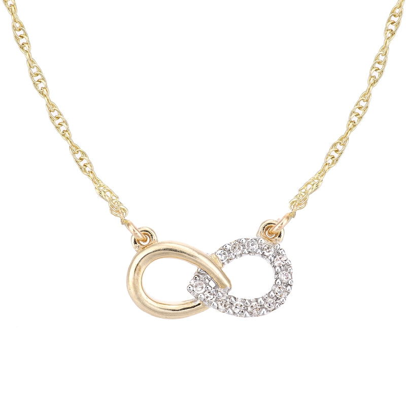 Diamond Pave Infinity Friendship Necklace In UK Hallmarked 9ct Yellow Gold