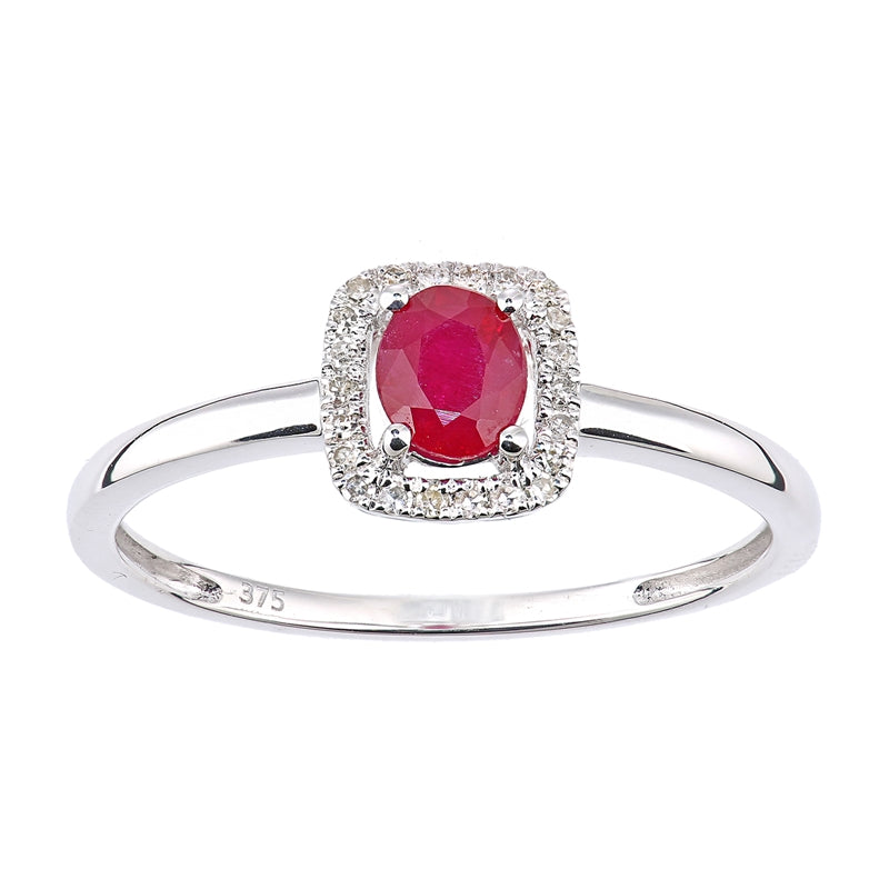 0.52ct Oval Ruby And Round Diamond Halo Ring In UK Hallmarked 9ct White Gold