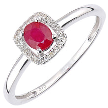 Load image into Gallery viewer, 0.52ct Oval Ruby And Round Diamond Halo Ring In UK Hallmarked 9ct White Gold