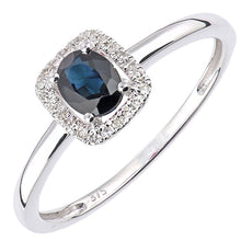 Load image into Gallery viewer, 0.5ct Oval Sapphire And Round Diamond Halo Ring In UK Hallmarked 9ct White Gold