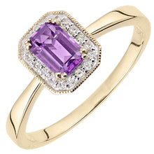 Load image into Gallery viewer, 0.55ct Octagonal Amethyst And Round Diamond Cluster Ring In UK Hallmarked 9ct Yellow Gold