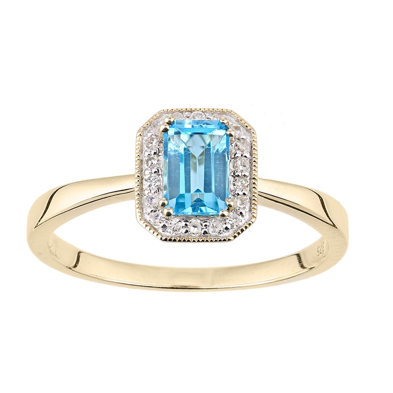 0.67ct Octagonal Blue Topaz And Round Diamond Cluster Ring In UK Hallmarked 9ct Yellow Gold