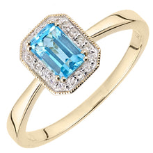 Load image into Gallery viewer, 0.67ct Octagonal Blue Topaz And Round Diamond Cluster Ring In UK Hallmarked 9ct Yellow Gold