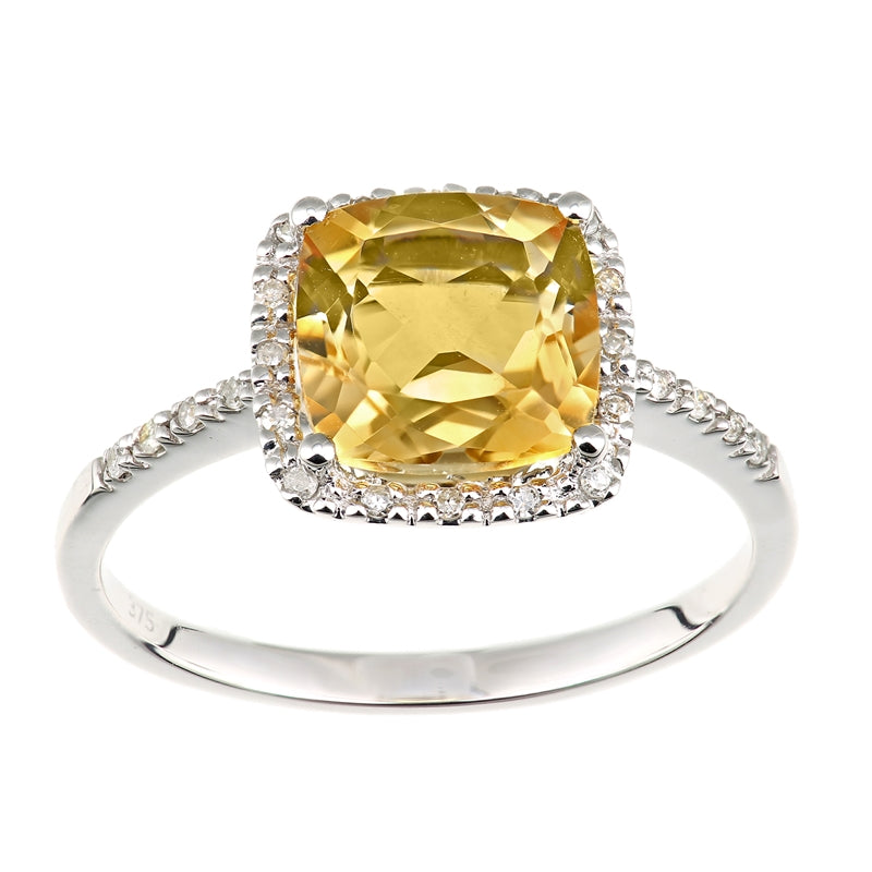 2.04ct Cushion Cut Citrine And Round Diamond Halo Ring In UK Hallmarked 9ct White Gold