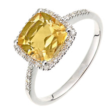 Load image into Gallery viewer, 2.04ct Cushion Cut Citrine And Round Diamond Halo Ring In UK Hallmarked 9ct White Gold