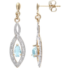Load image into Gallery viewer, 0.5ct Pear Shape Blue Topaz And Pave Set Diamond Drop Earrings In 9ct Yellow Gold