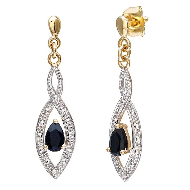 0.55ct Pear Shape Black Sapphire And Pave Set Diamond Drop Earrings In 9ct Yellow Gold