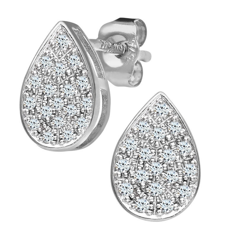 Pave Set Diamond Pear Shape Stud And Drop Earrings In 9ct White Gold