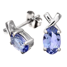 Load image into Gallery viewer, 1.0ct Oval Tanzanite Prong Set Stud Earrings In 9ct White Gold