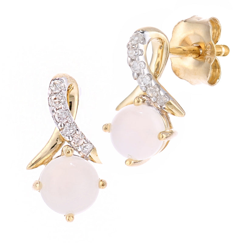 Round Opal And Pave Set Diamond Twist Earrings In 9ct Yellow Gold