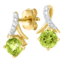 Load image into Gallery viewer, 0.62ct Peridot And Pave Set Diamond Twist Earrings In 9ct Yellow Gold