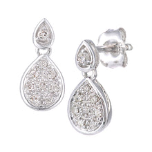 Load image into Gallery viewer, Pave Set Diamond Pear Shape Stud And Drop Earrings In 9ct White Gold