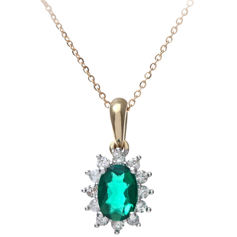 0.6ct Oval Emerald And 0.25ct Diamond Cluster Pendant In UK Hallmarked 9ct Yellow Gold