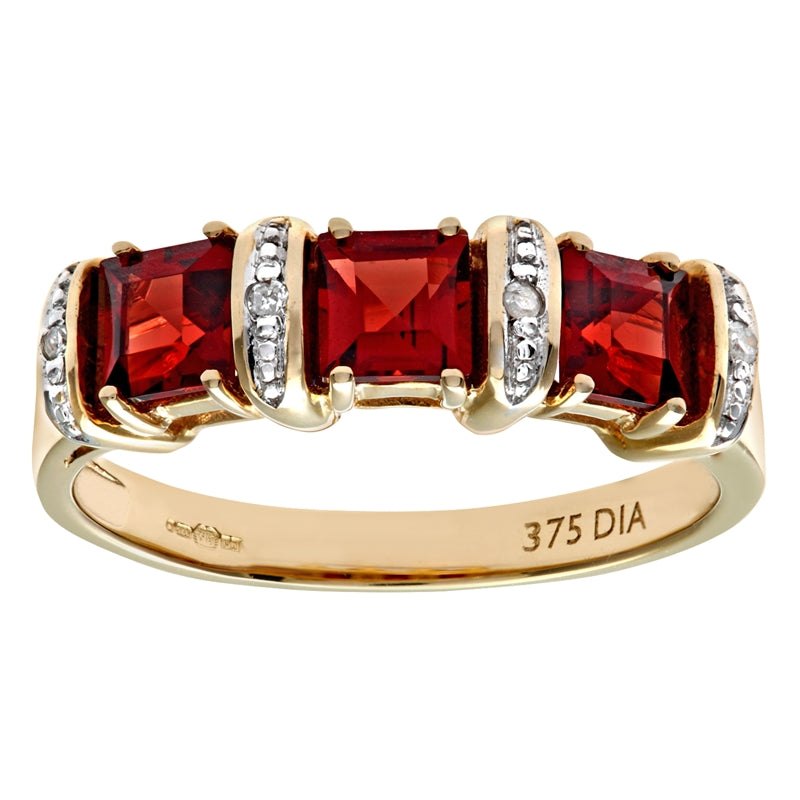 1.36ct Garnet 3-Stone Ring With Pave Set Diamonds In UK Hallmarked 9ct Yellow Gold