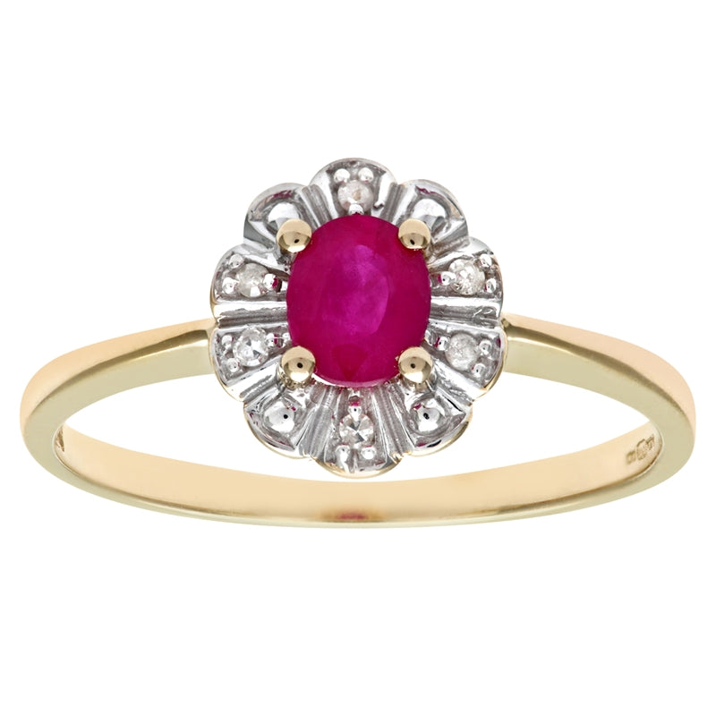 0.44ct Oval Ruby And Round Diamond Cluster Ring In UK Hallmarked 9ct Yellow Gold