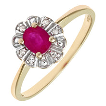 Load image into Gallery viewer, 0.44ct Oval Ruby And Round Diamond Cluster Ring In UK Hallmarked 9ct Yellow Gold
