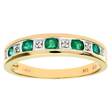 Load image into Gallery viewer, 0.29ct Round Emerald And Diamond Eternity Ring In UK Hallmarked 9ct Yellow Gold