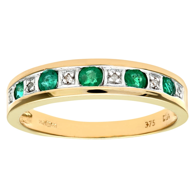0.29ct Round Emerald And Diamond Eternity Ring In UK Hallmarked 9ct Yellow Gold