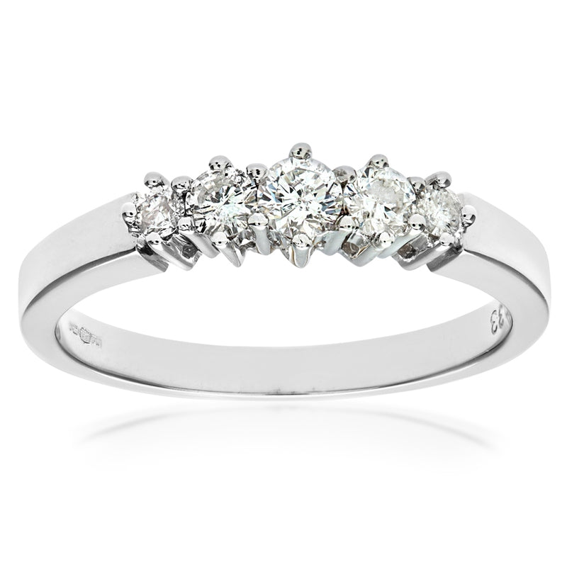 0.33ct Round Diamond Prong Set 5-Stone Eternity Ring In UK Hallmarked 9ct White Gold