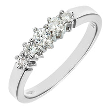 Load image into Gallery viewer, 0.33ct Round Diamond Prong Set 5-Stone Eternity Ring In UK Hallmarked 9ct White Gold