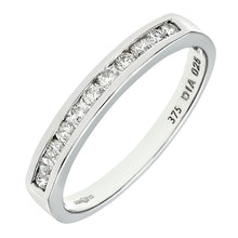 Load image into Gallery viewer, 0.25ct Channel Set Round Diamond Half Eternity Ring In UK Hallmarked 9ct White Gold