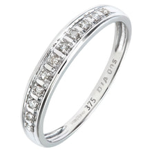 Load image into Gallery viewer, 0.05ct Round Diamond Pave Set Half Eternity Ring In UK Hallmarked 9ct White Gold